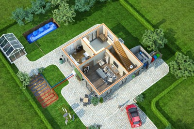 Eco House Perspective 3D-Plansin