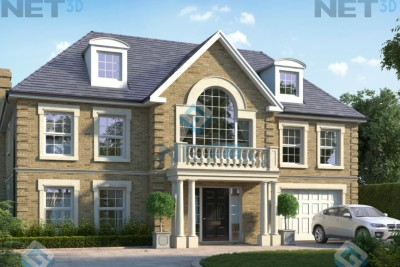 House Exterior 2 Residential 3D-Visualisationin