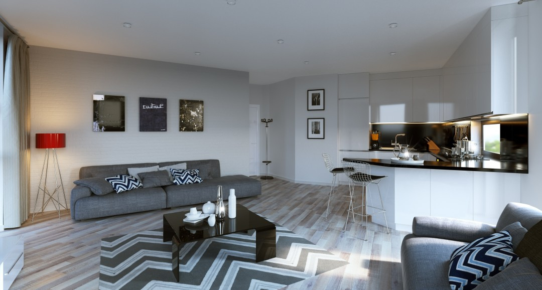 Studio Apartment 2 3d-visualisation image
