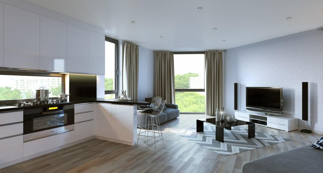 Studio Apartment 3d-visualisation image