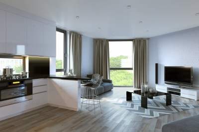 Studio Apartment Interior 3D-Visualisationin