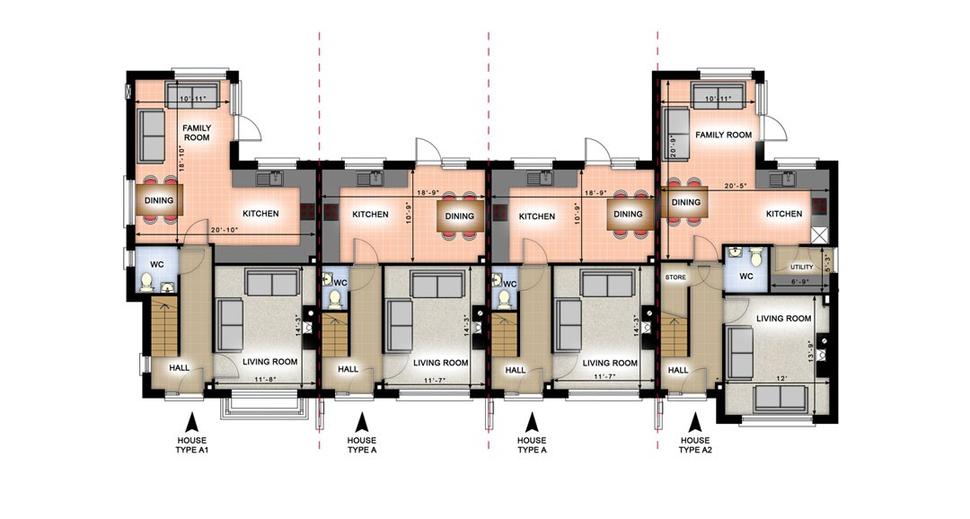 Terraced Houses 3d-plans image