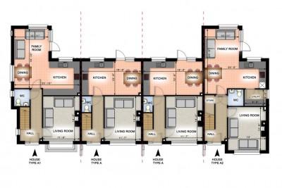 Terraced Houses 2D-Plans 3D-Plansin